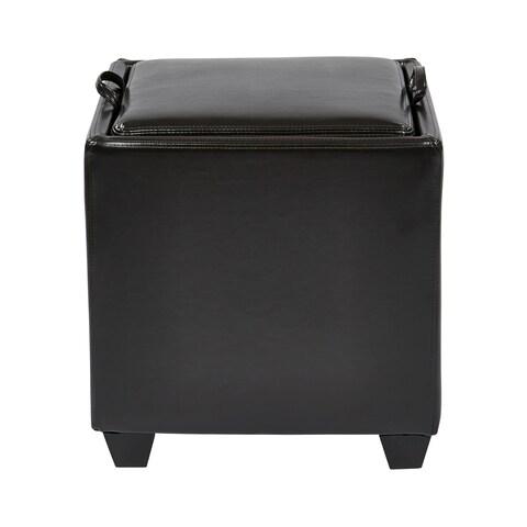 Metro Eco Leather Storage Ottoman with Tray