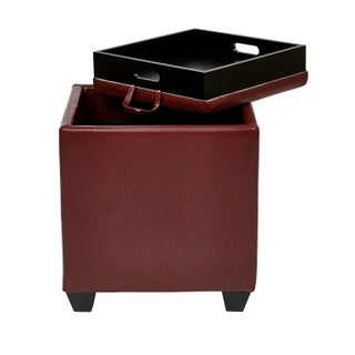 Metro Eco Leather Storage Ottoman with Tray