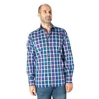 Ike Behar Men's Purple Check Frederick Spread Collar Sport Shirt