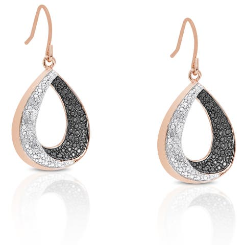 Finesque Rose Gold Overlay Diamond Accent Teardrop Dangle Earrings
