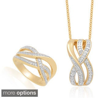 Finesque Diamond Accent Infinity Design Necklace and Ring Set