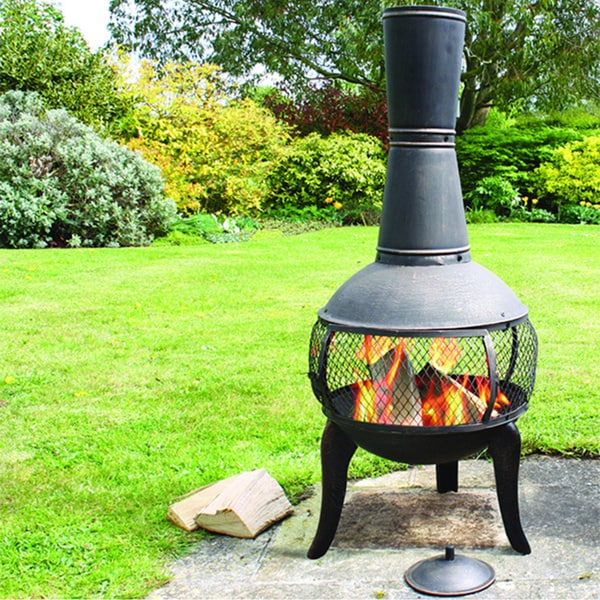 Shop Deeco Tuscan Glo Cast Iron Chiminea Free Shipping