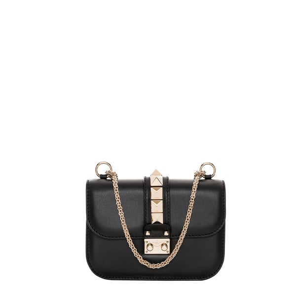 Valentino Small Black Leather Macro Stud Shoulder Bag
