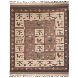 Flat Woven Off White Tribal Jute Wool Rug (12'x18')