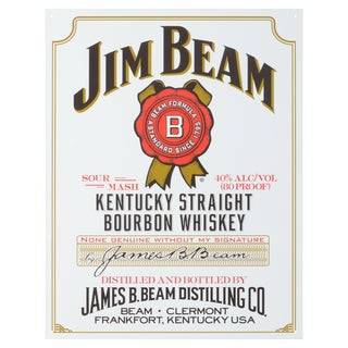 Vintage Metal Art 'Jim Beam White Label' Decorative Tin Sign