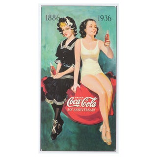 Vintage Metal Art 'Coke 50th Anniversary' Decorative Tin Sign