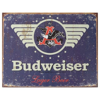 Vintage Metal Art 'Budweiser 1936' Decorative Tin Sign