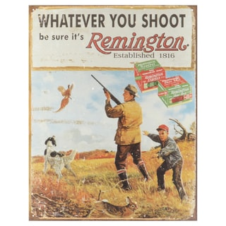 Vintage Metal Art 'Remington-Whatever You Shoot' Decorative Tin Sign