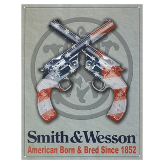 Vintage Metal Art 'Smith & Wesson American Born' Decorative Tin Sign