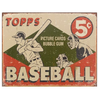 Vintage Metal Art 'Topps 1955 Baseball Box' Decorative Tin Sign