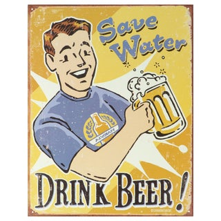 Vintage Metal Art 'Schonberg Save Water' Decorative Tin Sign