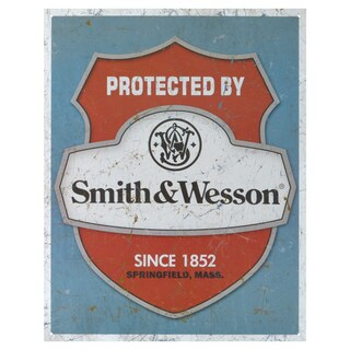 Vintage Metal Art 'Smith & Wesson Protected' Decorative Tin Sign