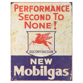 Vintage Metal Art 'Mobile Gas-Second to None' Decorative Tin Sign
