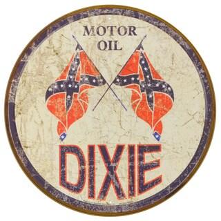 Vintage Metal Art 'Dixie Gas' Decorative Round Tin Sign