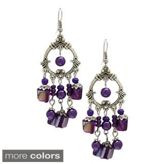 Handmade Bleek2Sheek Mother of Pearl Chandelier Earrings (USA) (Option: Purple)