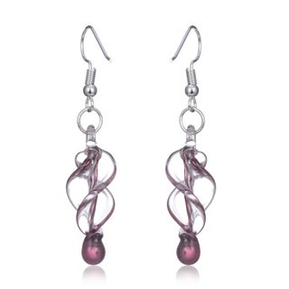 New Handmade Italian Murano Style Glass Tornado Twirl Quality Fashion Earrings (United States) (3 options available)