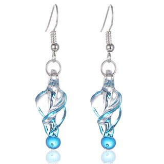 New Handcrafted Italian Murano Style Glass Tornado Twirl Quality Fashion Earrings