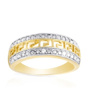 Finesque Yellow Gold over Silver Diamond Accent Greek Key Design Ring