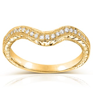 Annello by Kobelli 14k Yellow Gold 1/8ct TDW Ladies Contoured Diamond Wedding Band