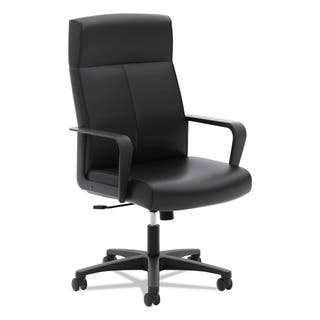 Basyx By Hon Vl604 Series Black Softhread Leather High Back Executive Chair