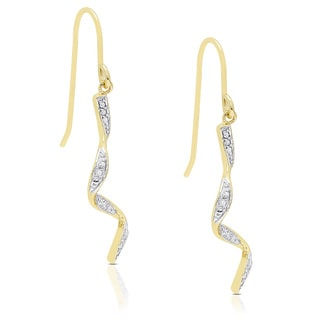 Finesque Yellow Gold over Silver Diamond Accent Ribbon Earrings