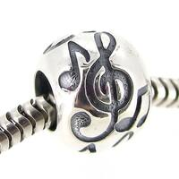 Queenberry Sterling Silver Treble G Clef Melody Bead