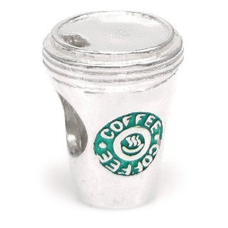 Queenberry Sterling Silver Green Coffee Cup European Bead Charm