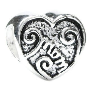 Queenberry Sterling Silver Love Mother Mom Heart Bead Charm