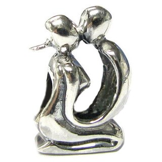 Queenberry Sterling Silver So In Love Kissing Couple Charm Bead