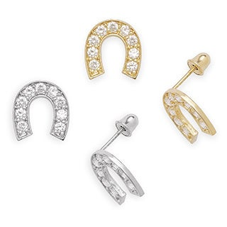 14k Gold Cubic Zirconia Lucky Horseshoe Screw-back Earrings