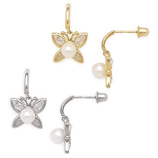 14k Gold Freshwater Cultured Pearl and Cubic Zirconia Butterfly Screw-back Earrings (4-5 mm)
