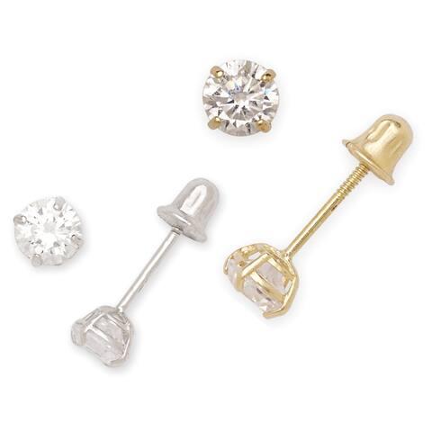14k Gold 4mm Cubic Zirconia Screw-back Earrings