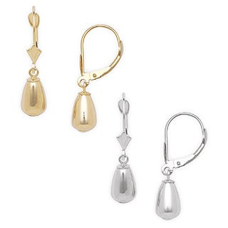 14k Gold Pear-shaped Drop Leverback Earrings