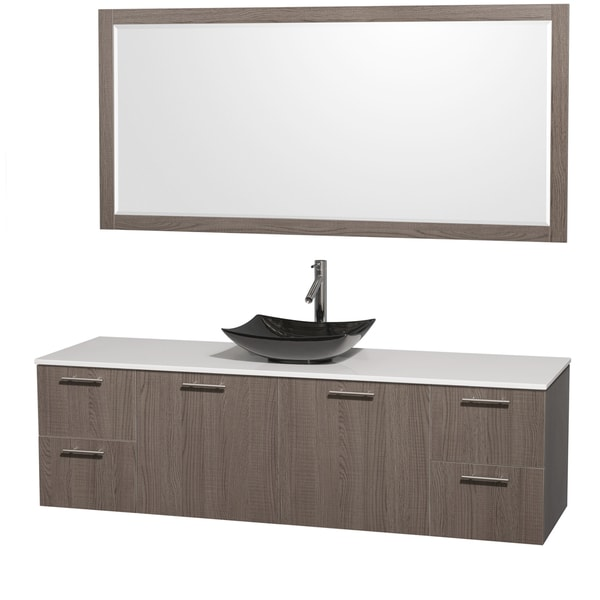 Wyndham Collection Amare 72-inch Grey Oak Single Vanity with 70-inch Mirror