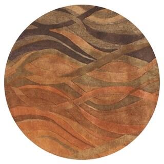 Alliyah Hand Made Caramel, Autumn Leaf, Chipmunk, Brown, and Rust New Zealand Blend Wool Area Rug (10' Round)