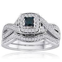 Platinaire 1/2ct TDW Blue and White Diamond Bridal Set