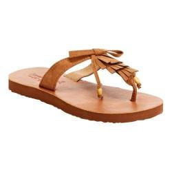 Girls' Hanna Andersson Naemi Thong Sandal Brown Fabric Suede