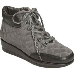 Women's Aerosoles First Plan Quilted Suede Wedge Ankle Boot Black Combo