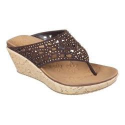 Women's Skechers Beverlee Dazzled Wedge Sandal Chocolate