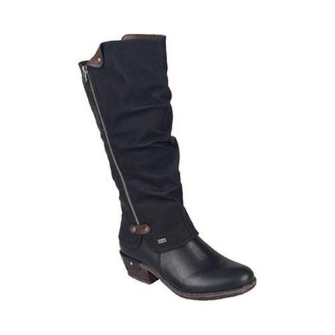 Women's Rieker-Antistress 93655 Knee High Boot Black/Kastanie Synthetic