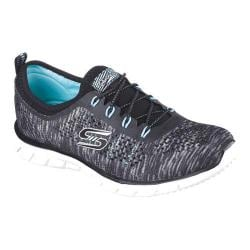 Women's Skechers Stretch Fit Glider Deep Space Bungee Lace Shoe Black/Aqua