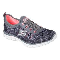 Women's Skechers Stretch Fit Glider Deep Space Bungee Lace Shoe Charcoal/Coral