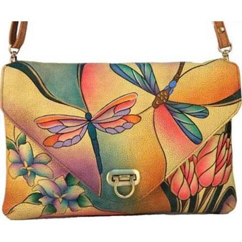 Women's ANNA by Anuschka Envelop Clutch 8057 Dragonfly Glass Painting
