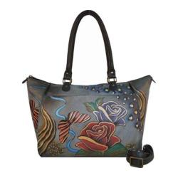 Women's ANNA by Anuschka Hand Painted Large Tote 8066 Rose Safari Grey