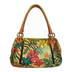 Women's ANNA by Anuschka Hand Painted Ruched Large Satchel 8064 Safari Bloom