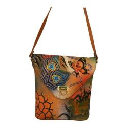 Women's ANNA by Anuschka Hand Painted V Shaped Flap Bag 8059 Peacock Collage