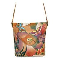 Women's ANNA by Anuschka Hand Painted V Shaped Flap Bag 8059 Butterfly Glass Painting
