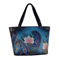 Women's ANNA by Anuschka Large Tote 8045 Denim Paisley Floral