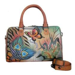 Women's ANNA by Anuschka Large Zip Around Satchel 8039 Peacock Collage