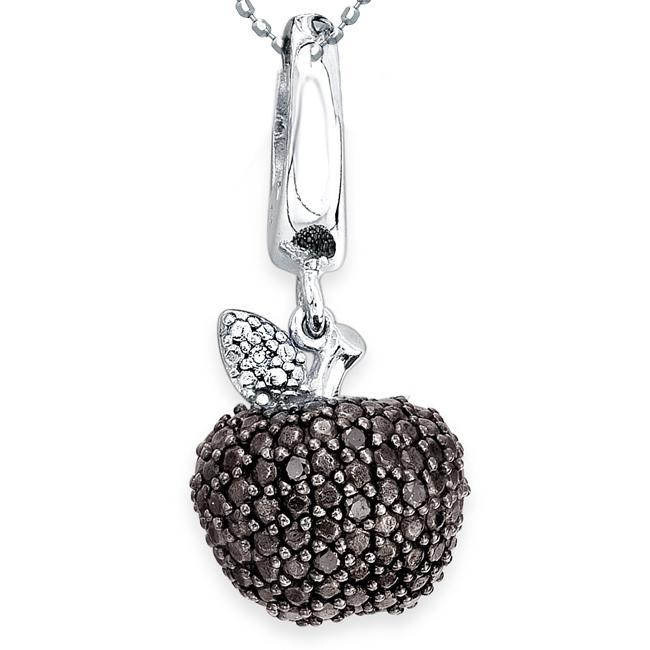 Sterling Silver & Black & White Diamond Apple Pendant/Charm with 18 inch sterling silver ball chain (J-K. I2-I3)